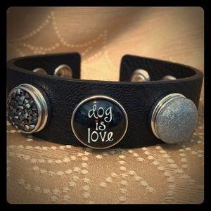 Jewelry - Black leather snap bracelet